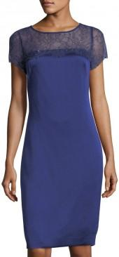 St. John Luxe Satin Crepe Sheath Dress, Violet