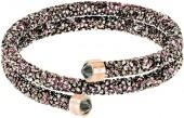 Crystaldust Double Bangle, Multi-colored, Rose gold plating