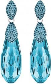 Height Pierced Earrings, Aqua, Rhodium plating