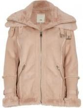 River Island Womens Pink fur trim aviator jacket