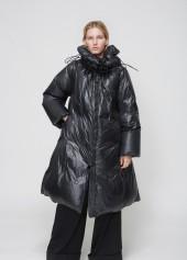 MM6 Maison Margiela black shiny nylon coat