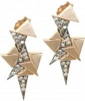 Sadekar Jewellery - A Mixed Triangle Earrings White & Brown Diamonds