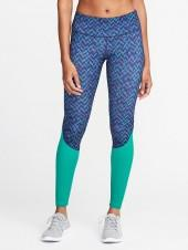 Mid-Rise Go-Dry Color-Block Leggings for Women