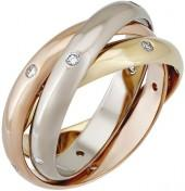 Cartier Estate Constellation 18k Triple-Band Ring w/ Diamonds, Size 9.25