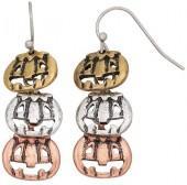 Tri Tone Antiqued Pumpkin Nickel Free Linear Drop Earrings