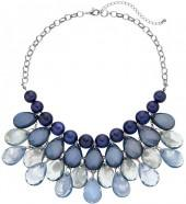 Plus Size Blue Ombre Beaded Teardrop Necklace