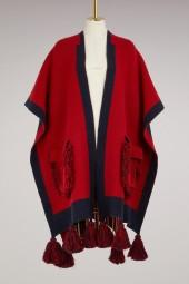 Alanui Wool and cashmere poncho with fringes