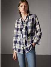 Burberry Pussy-bow Check Flannel Shirt