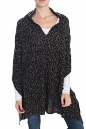 White + Warren Two Way Leopard Printed Poncho Grey