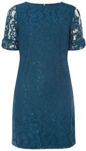 Teal Blue Flute Sleeve Lace Shift Dress