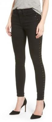 Women's Sp Black Lace-Up Skinny Jeans