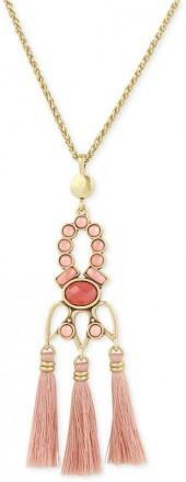 Lucky Brand Gold-Tone Pink Stone & Tassel Pendant Necklace, a Macy's Exclusive Style