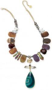 Paul & Pitu Naturally Gold-Tone Agate & Quartz Pendant Necklace