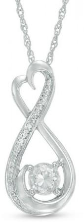 5.0mm Lab-Created White Sapphire and Diamond Accent Heart-Shaped Infinity Pendant in Sterling Silver