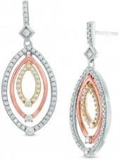 1 CT. T.W. Diamond Triple Oval Drop Earrings in 10K Tri-Tone Gold