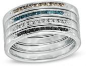 1/3 CT. T.W. Diamond Stackable Four Band Set in Sterling Silver