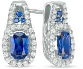 Cushion-Cut Lab-Created Blue and White Sapphire Frame Drop Earrings in Sterling Silver