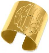 Engravable Monogram Cuff Ring in Sterling Silver with 14K Gold Plate (3 Initials)