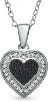 1/5 CT. T.W. Enhanced Black and White Diamond Heart Pendant in Sterling Silver