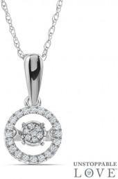 """Unstoppable Loveâ""""¢ 1/10 CT. T.W. Diamond Frame Pendant in 10K White Gold"""