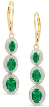 Oval Lab-Created Emerald and Diamond Accent Linear Three Stone Earrings in Sterling Silver with 14K Gold Plate