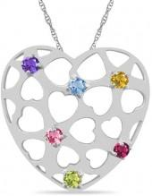 Mother's Simulated Birthstone Cut-Out Heart Pendant in Sterling Silver (1-6 Stones)