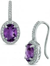 Oval Amethyst and Lab-Created White Sapphire Frame Drop Earrings in Sterling Silver