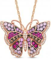 Lab-Created Multi-Gemstone and White Sapphire Butterfly Pendant in Sterling Silver with 14K Rose Gold Plate