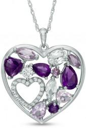 Multi-Shaped Rose de France, Purple Amethyst and Lab-Created White Sapphire Heart Pendant in Sterling Silver