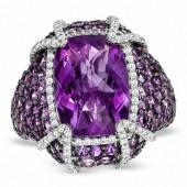 Cushion-Cut Amethyst and White Topaz Ring in Sterling Silver - Size 7