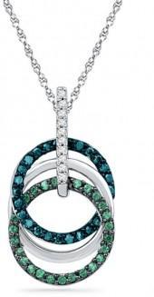 1/4 CT. T.W. Enhanced Green, Blue and White Diamond Circles Pendant in 10K White Gold
