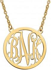 Polished Scroll Monogram Circle Necklace in 10K Gold (3 Initials)