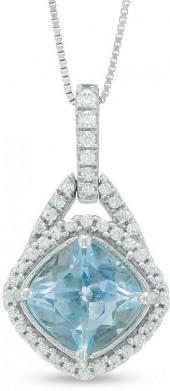 7.0mm Cushion-Cut Aquamarine and 1/5 CT. T.W. Diamond Frame Pendant in 10K White Gold