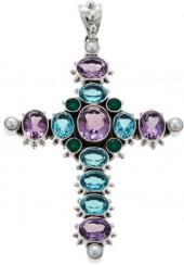 Nicky Butler 13.80ctw Amethyst and Multigemstone Sterling Silver Cross Pendant