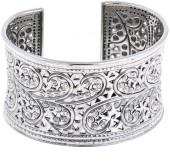 Bali Designs by Robert Manse Sterling Silver Swirl Design Cuff Bracelet
