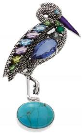 Nicky Butler 9.45ctw Mojave Turquoise and Multigemstone Sterling Silver Heron Pin/Pendant
