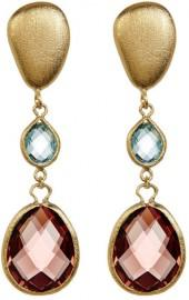 Rivka Friedman 18K Gold Clad Graduated Faceted Denim Blue & Raspberry Crystal Teardrop Earrings