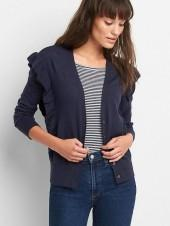 Cascade-ruffle button cardigan