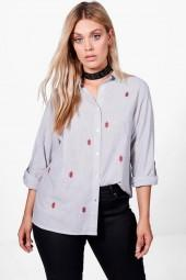 boohoo Plus Saskia Stripe Embroidered Shirt
