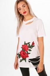boohoo Louise Embroidered T-Shirt