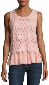 Liv Los Angeles Lace-Overlay Jersey Tank