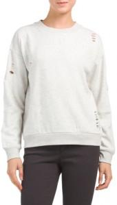 Long Sleeve Distressed Sweatshirt