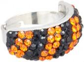 Black & Orange Rhinestone Ring