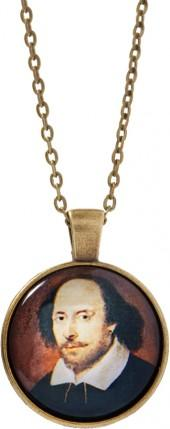 Goldtone Shakespeare Pendant Necklace