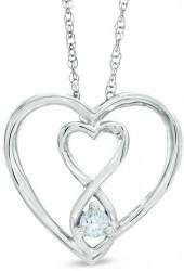 3.0mm Aquamarine Infinity Twist Heart Pendant in Sterling Silver