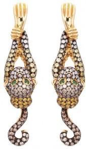 Wendy Yue Diamond tsavorite 18k yellow gold monkey drop earrings