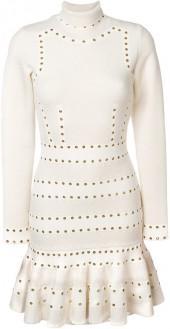 Alexander McQueen Turtleneck Eyelet mini dress