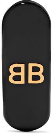 Balenciaga - Gold-tone Acrylic Clip Earring - Black