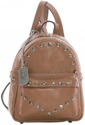 Brown Stud Leather Mini Backpack