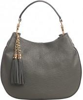 Dary Gray Tassel Leather Hobo